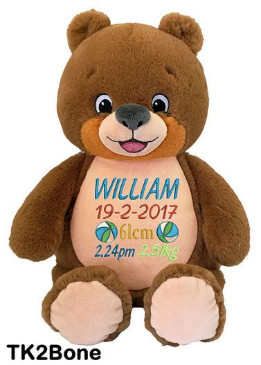 Personalised Hug-Me Cubby - Signature Bear (Birth Design). The perfect Personalised teddy bear Baby Gift. An ideal way to welcome a newborn into the world.