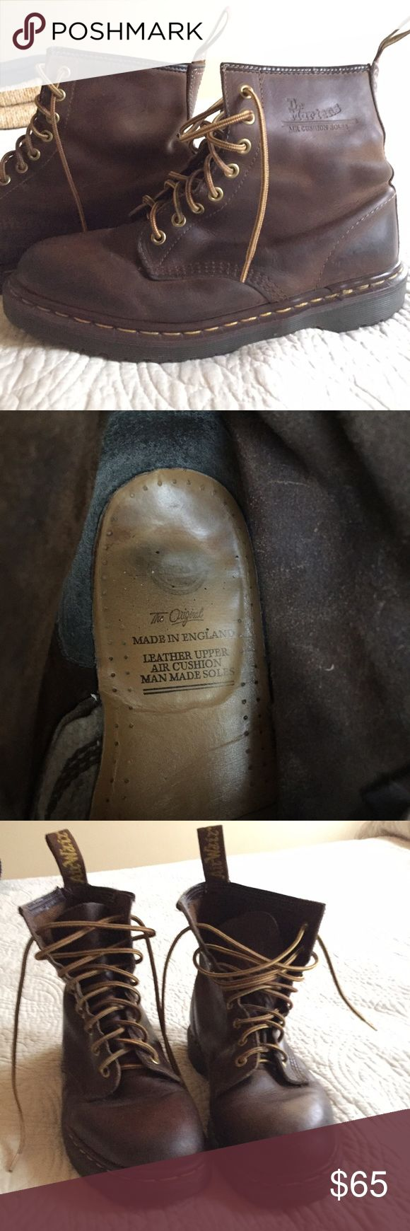 Brown 8 Eyelet Dr. Martens boots These were worn on and off for a couple of months then sat in my closet for a year when I switched to Red Wings. They are broken in....but in Great condition! Nice patina showing in the leather...no cracking. Tons of life left both in the soles and the leather. I included the picture of the inside of the boot to show how little of the writing on the insole has worn off (showing how little they've been worn). Great boots....I just don't wear them so I want to…
