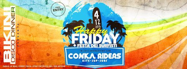 Super serata al Bikini Cattolica dedicato ai Surfisti e alla musica. Venerdì 4 dicembre 2015 arriva la festa Surfisti con lo staff del Mama Africa e i Deejay rock.