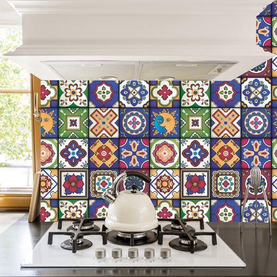 Adhesivos De Azulejos Mexicanos Set De 16 Azulejos Etsy Tile Decals Stick On Tiles Tiles