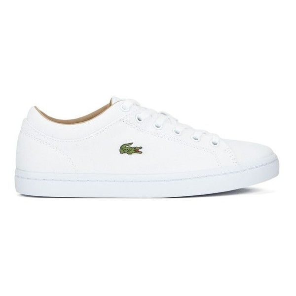 Lacoste Women's Straightset W Canvas Trainers (135 AUD) ❤ liked on Polyvore featuring shoes, sneakers, white, grip trainer, plimsoll sneaker, crocs tennis shoes, lacoste sneakers and tennis shoes