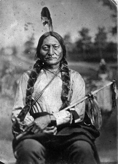 """Photograph: Orlando Scott Goff, """"Sitting Bull,"""" 1881 """"When the Lakota leader Sitting Bull was asked by a white reporter why his people loved and respected him, Sitting Bull replied by asking if it was not true that among white people a man is respected because he has many horses, many houses? When the reporter replied that was indeed true, Sitting Bull then said that his people respected him because he kept nothing for himself."""""""