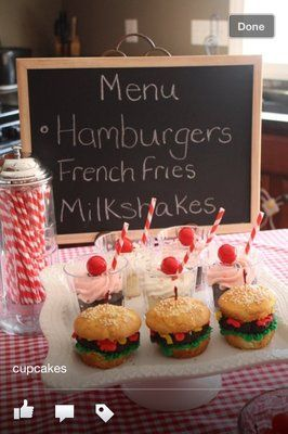 "50's party theme | 50's Diner"" themed birthday party. Milkshake and burger cupcakes ..."