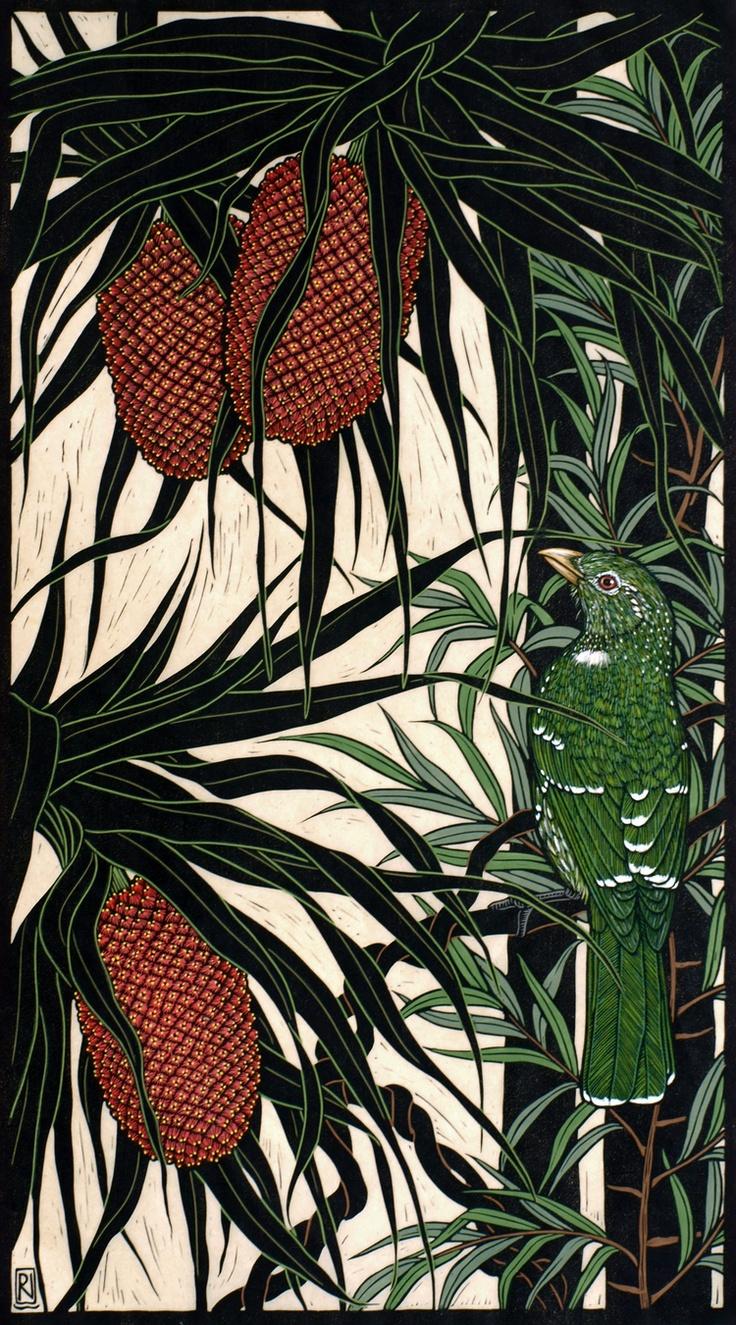 Red Panda & Catbird - Hand coloured linocut on handmade Japanese paper by…