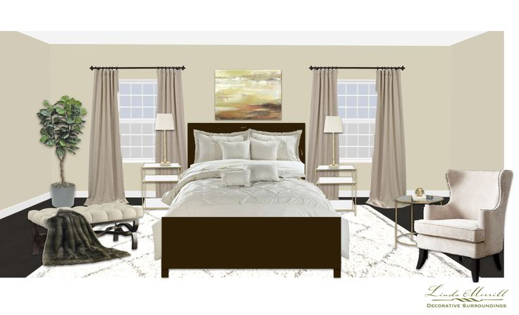 An elegant neutral bedroom for a virtual design client. Design and rendering by Linda Merrill. #virtual #design #edecor #edesign #bedroom #neutral #cream #offwhite #transitional