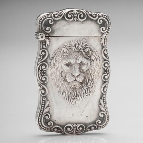American sterling silver match safe by Carter, Howe & Co. with repoussé lion decoration, late 19th to 20th century, is coming to auction Jan. 11, 2018 through Cowan's Auctions.