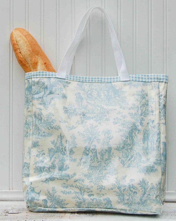 light blue toile tote bag