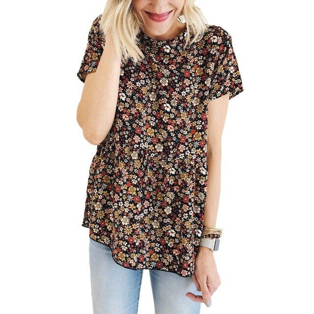 Crew neck blouse womens floral t shirt summer short sleeve casual loose ladies