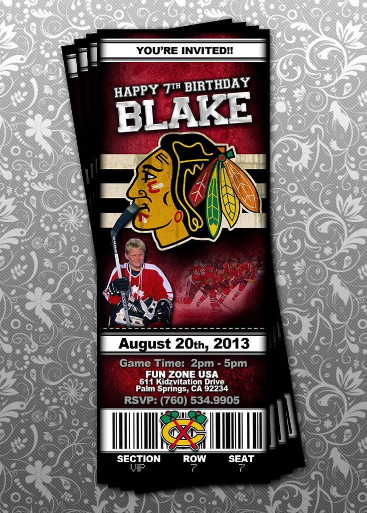 Chicago Blackhawks Ticket Invitation
