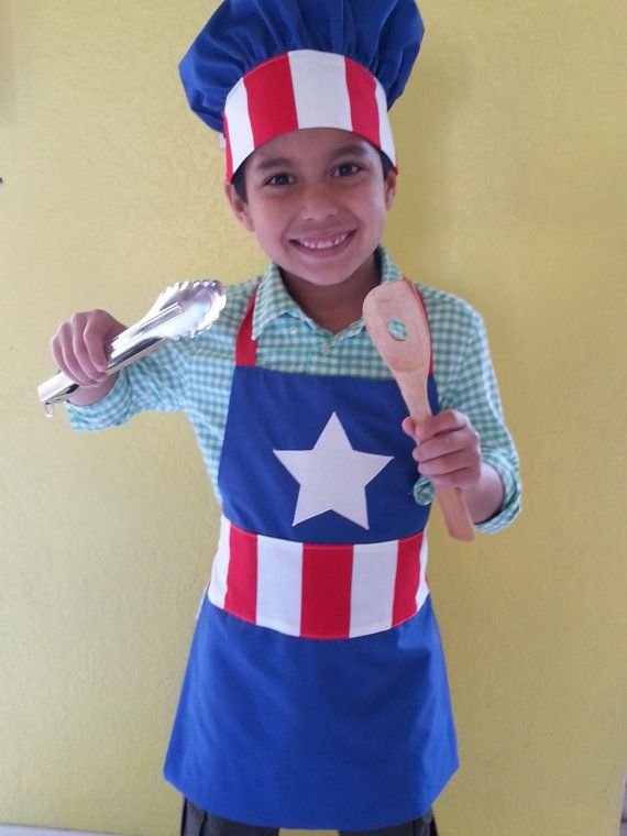 Kids superhero apron and chef hat combo/apron and hat by SMPstore, $38.00