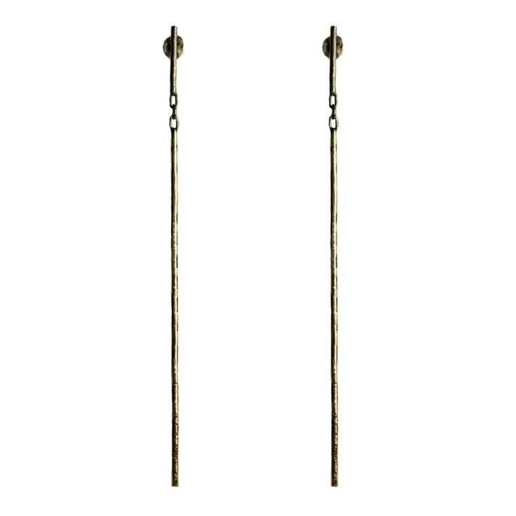 18ct Gold and Oxidised Silver Line Earring