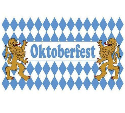 Oktoberfest vlag 90 x 150 cm. Maak je Oktoberfest compleet met deze blauw met witte leeuwen Oktoberfest vlag. De vlag is gemaakt van stof.