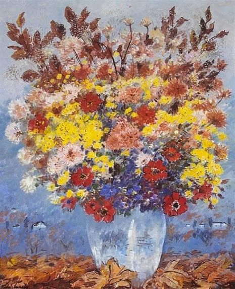 Michele Cascella - A still life with flowers, oil...