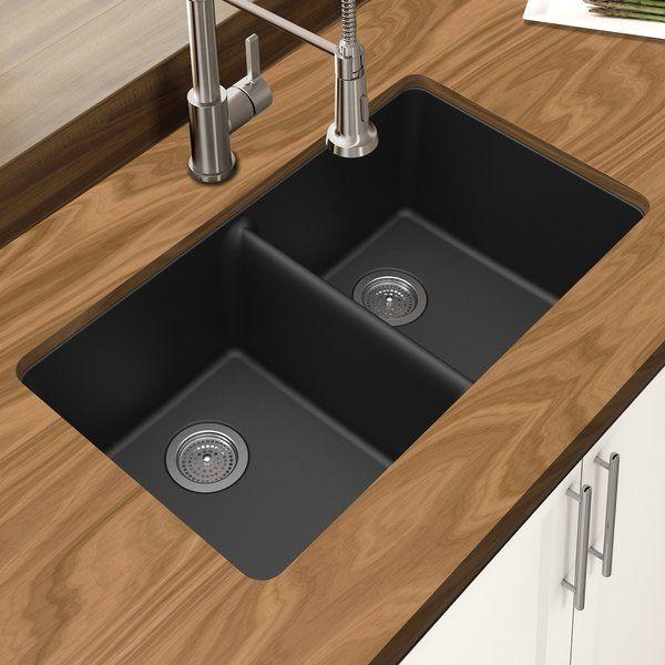 Granite Quartz 33 L X 19 W Double Basin Undermount Kitchen Sink Undermount Kitchen Sinks Double Bowl Undermount Kitchen Sink Sink