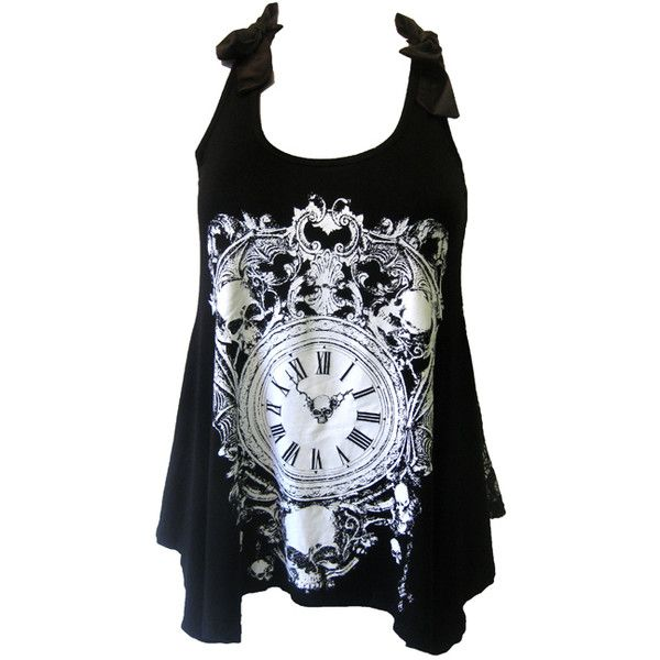 Jawbreaker Skull Clock Lace Top | Gothic Clothing | Emo clothing | Alternative clothing | Punk clothing - Chaotic Clothing (€22) found on Polyvore