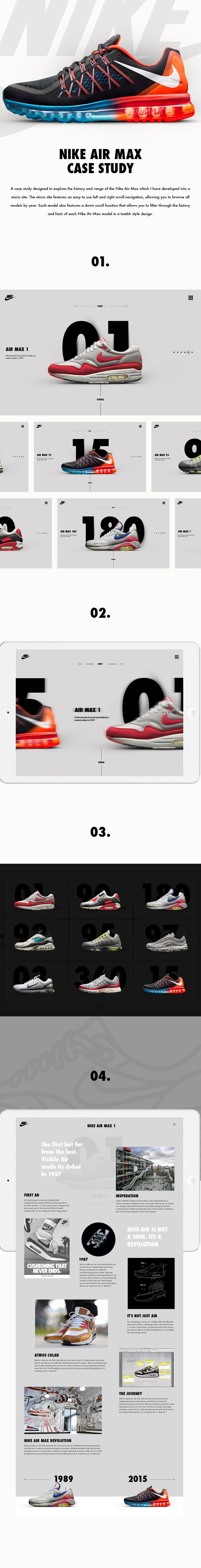 A case study designed to explore the history and range of the Nike Air Max which I have developed into a  micro site.