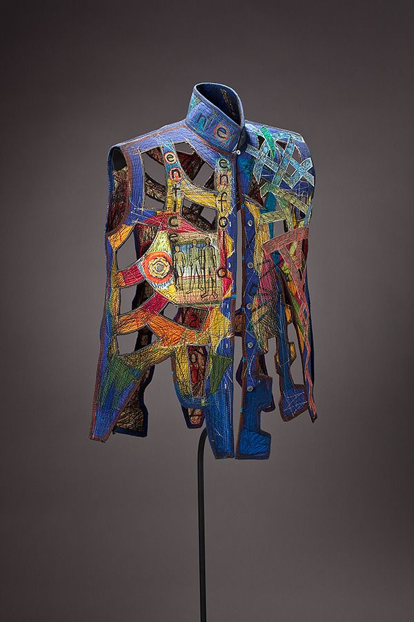 "Kay Khan - Enfold - 30"" x 23"" x 12""; Silk, cotton, paper; deconstructed blouse: quilted, stitched, rebuilt"