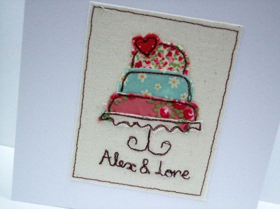 Personalised Wedding Card Embroidered Wedding Cake by Nikelcards
