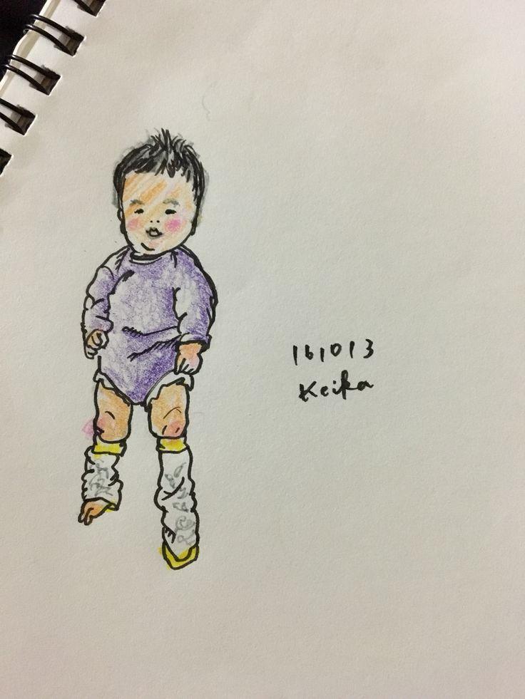 【Around midnight】秋のスタイルを先取りさせたつもりが、エアロビスタイルになってしまったムスッコ。#エアロビ #レッグウォーマー #赤ちゃん #おえかき #イラスト #4ヶ月was dressing my son in a new fall/winter look, where inevitably became an aerobics. #baby #drawing #illustration #4months #aerobics