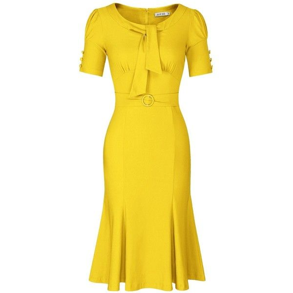 JUESE Women's 50s 60s Formal or Casual Party Pencil Dress (105 RON) ❤ liked on Polyvore featuring dresses, night out dresses, going out dresses, yellow cocktail dress, holiday party dresses and yellow party dress
