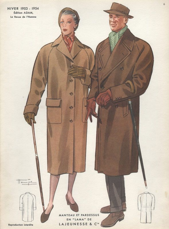 Vintage Fashion Print Showing A Man In Coat And Gloves With Woman