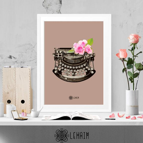 Floral Typewriter print Vintage Retro art Hispter por LehaimDesign