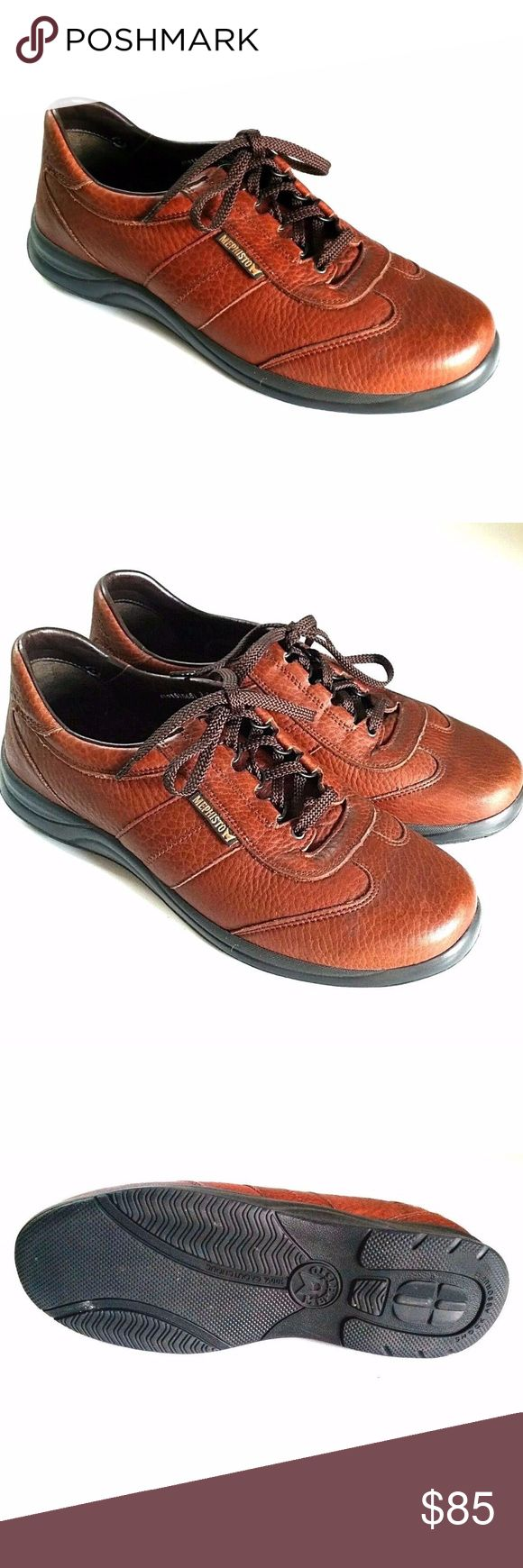 Mephisto RunOff Air-Jet Brown Leather Sneakers 9.5 Mephisto RunOff Air-Jet Brown Leather Sneakers Comfort Walking Sport Shoes.   Retail price $375+tax!  Rich brown leather  D-ring lacing and padded collar  Air Bag System soles, 100% Caoutchouc rubber  Made in Portugal, stamped: 419515681  Size: 9.5 US / 9 EU  No significant wear, tear, scratches or other damage. EXCELLENT condition! Please refer to pictures. Mephisto Shoes Sneakers