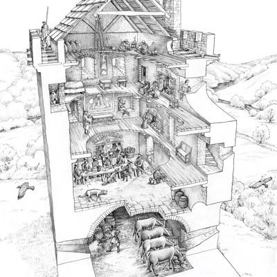 Cutaway Drawing Of Typical Peel Tower Thunder On The
