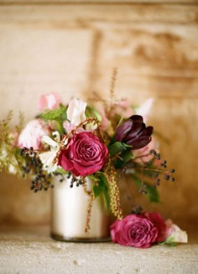 Blush, Gold, and Berry Wedding Centerpiece | See More! http://heyweddinglady.com/rich-wild-summer-berry-wedding-inspiration/