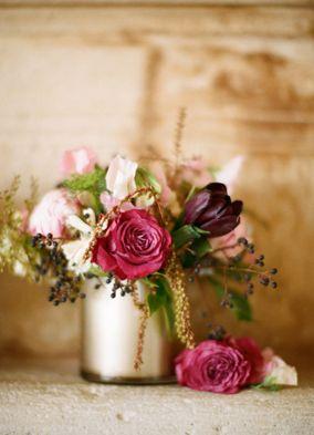 Blush, Gold, and Berry Wedding Centerpiece | See More! http://heyweddinglady.com/rich-wild-summer-berry-wedding-inspiration/