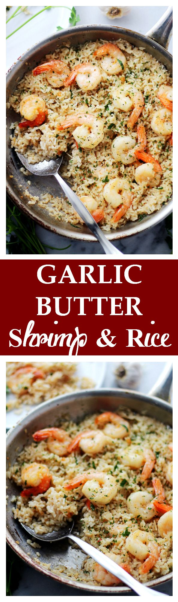 //Garlic Butter Shrimp and Rice - Garlic Butter lends an amazing flavor to this speedy and incredibly delicious meal with Shrimp and Rice. Get the recipe on diethood.com #food