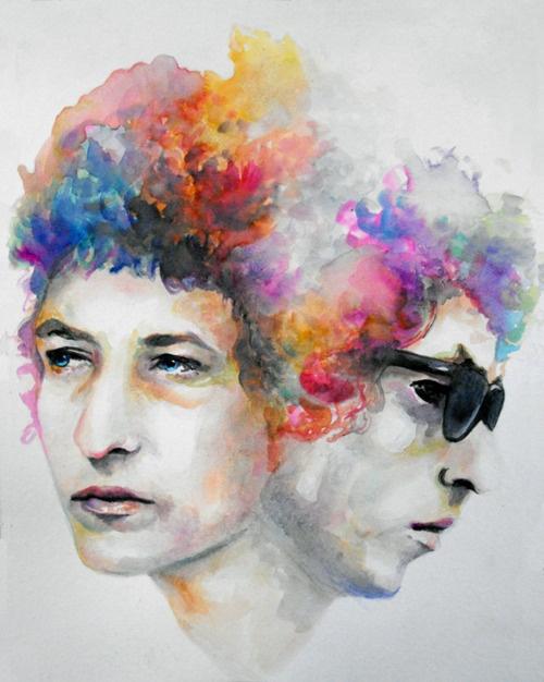 bob dylan, color, watercolor, portrait, art
