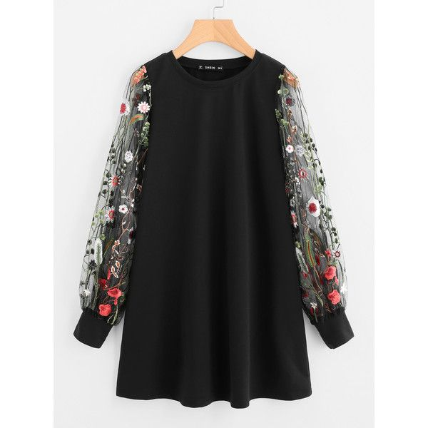 SheIn(sheinside) Botanical Embroidered Mesh Sleeve Longline Pullover (€13) ❤ liked on Polyvore featuring tops, dresses, black, floral mesh top, long sleeve tops, floral tops, floral print tops and stretch top