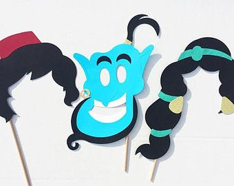 Aladdin Inspired Disney Princess Photo Booth Prop Set; Princess Birthday Props; Genie Photo Prop; Aladdin Photo Props