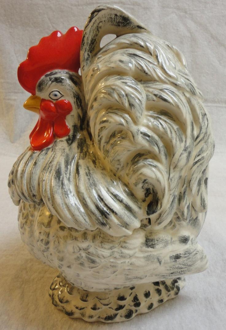 Hand Painted Ceramic Rooster Cookie Jar.   via Etsy.