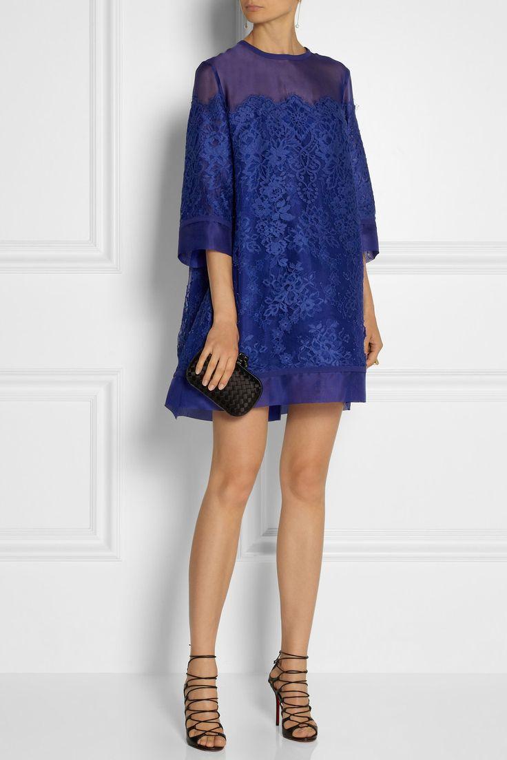 Elie Saab Lace and organza mini dress | Bottega Veneta The Knot intrecciato satin clutch | Christian Louboutin Aqueduchesse sandals