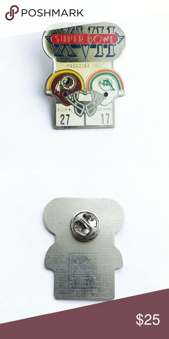 """'83 Super Bowl Enamel Pin 1983 Super Bowl XVII Enamel Pin  • true vintage • 1  1/2"""" x 1  1/4"""" • colors: silver, red, white, blue, yellow, orange, gray, turquoise • tags: NFL, national football league, college, Washington redskins, Miami Dolphins, fan, player, quarterback, gift, Pasadena, helmets, California, present, game, team, USA, American, SuperBowl, champion, winner, collectible, memorabilia, hat, lapel, brooch, bag, backpack • all of the pins I sell are vintage & may contain minor…"""