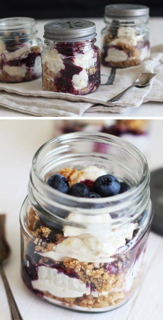 No Bake Blueberry Cheesecake in a Jar | Click Pic for 15 Easy No Bake Desserts in a Jar | Easy No Bake Dessert Recipes for Kids