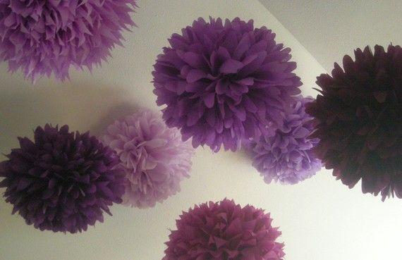 Mêlé violets... 10 poms de papier de soie / / décorations de mariage / / bricolage / / anniversaire / / graduation / / bat-mitzvah / / décorations de fête sur Etsy, 28,67€