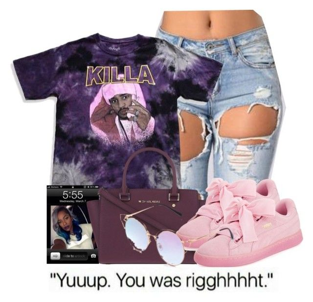 """""""Purple Rain"""" by royal-t-1 ❤ liked on Polyvore featuring MICHAEL Michael Kors, Puma, Pink, michaelkors and pumas"""