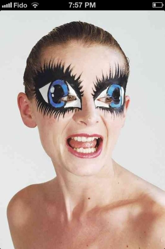 crazy big eyes makeup idea for cheshire cat change to cat eyes so creepy yet awesome - Scary Halloween Eye Makeup