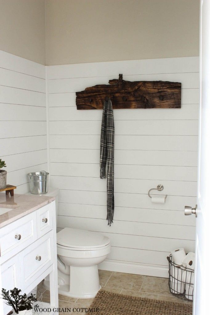 Home Tour - The Wood Grain Cottage... just a little bit of wood warms up a white bathroom every time:)