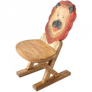 Best Handmade Acacia Wood Kids Lion Design Chair Thailand 400 x 300