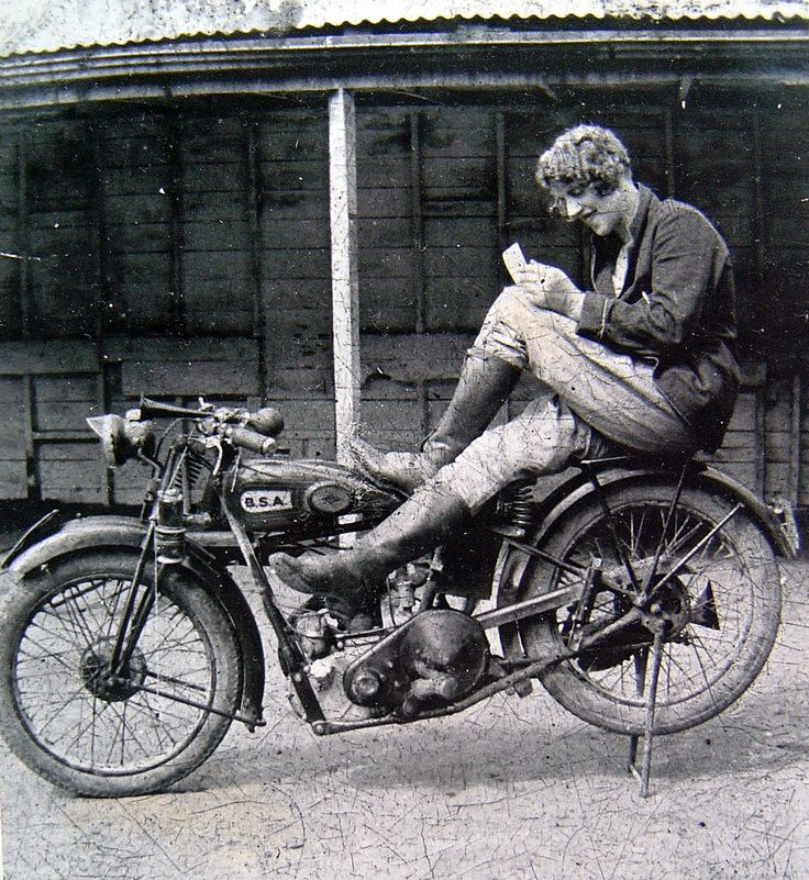 A girl on her BSA motorbike in the north island of New Zealand, ca. 1930s