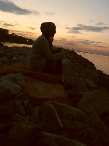 Hijab girl. Caspian sea. Dagestan
