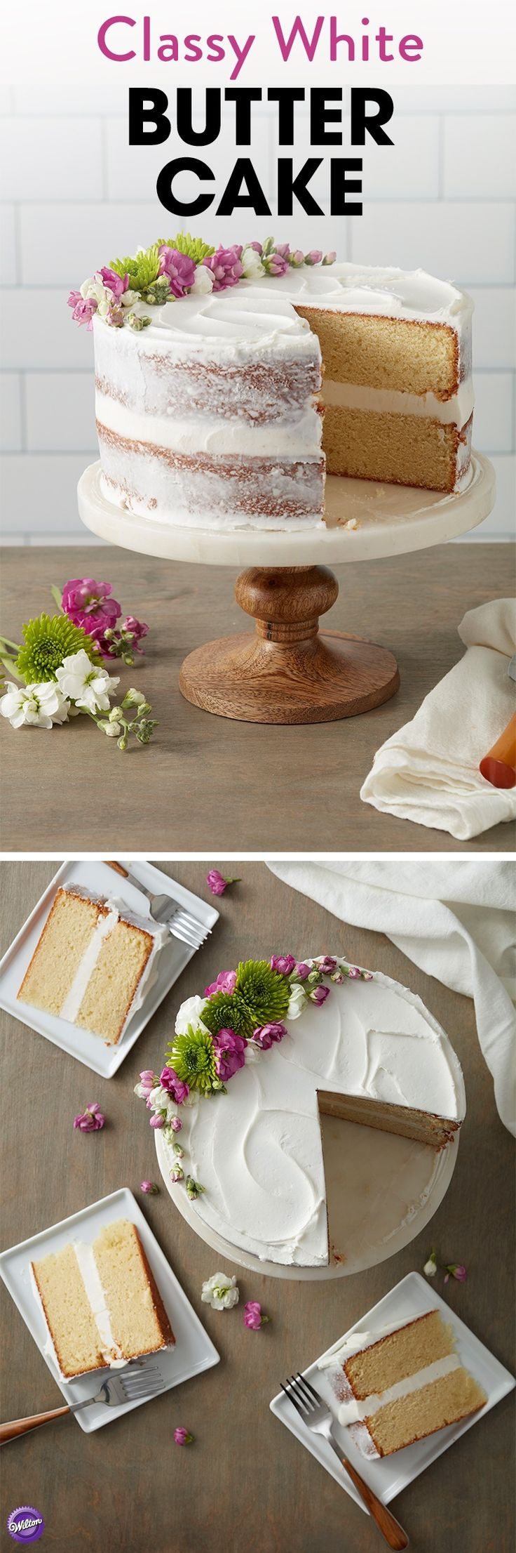 Hosting a wedding shower or birthday celebration? This Classy White Butter Cake is an easy and stress-free dessert that is the perfect ending to any party. Topped with beautiful edible flowers, this simple cake features an elegant rustic design and is a simple project for beginning decorators. The tasty Butter Cake recipe also holds up well to icing and decorating.