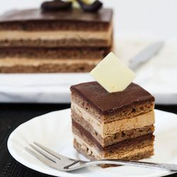 Classic Opera Cake- layers of coffee soaked joconde, coffee buttercream and chocolate ganache, all topped with a shiny chocolate glaze