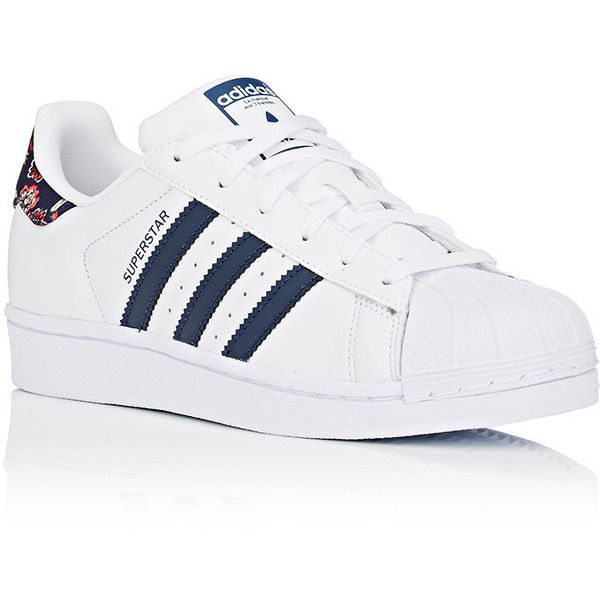 adidas Women's Women's Superstar Leather Sneakers ($85) ❤ liked on Polyvore featuring shoes, sneakers, polka dot sneakers, flower print sneakers, lace up sneakers, leather low top sneakers and sports trainer