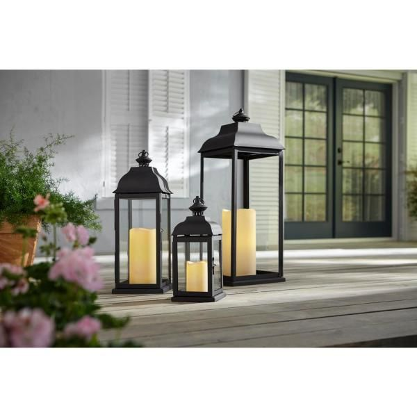 Hampton Bay 30 In Traditional Black Steel Outdoor Patio Lantern Hd19143l The Home Depot In 2020 Patio Lanterns Outdoor Lanterns Outdoor Candle Lanterns