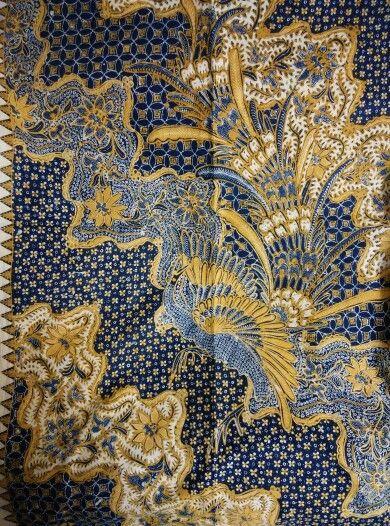 Batik origin Solo typical saudagaran batik / merchant batik year 1940~1950,sogan color with phoenix or peacock design.